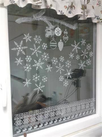window decor with stencil