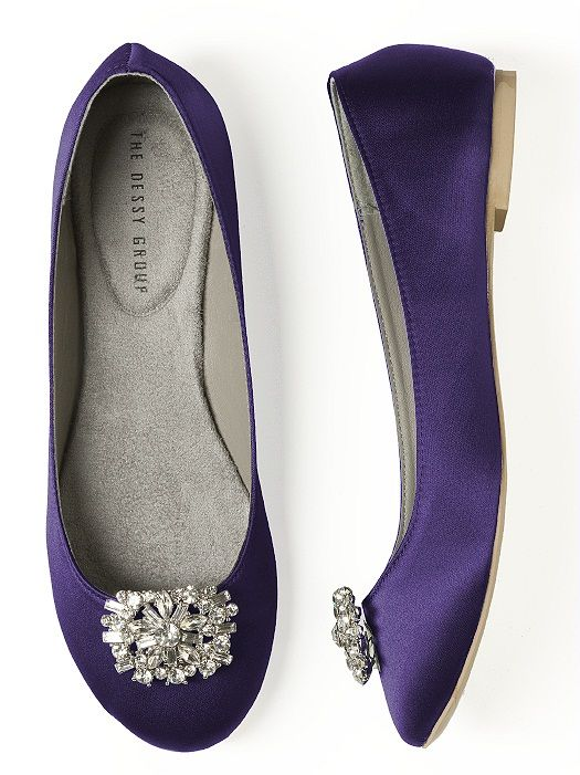 purple wedding shoes, Dessy group.  **good website for wedding flats and jeweled clip-ons for shoes