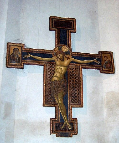 Crucifix (1250) by Giunta Pisano; left transept; Basilica of Saint Dominic, Bologna, Italy