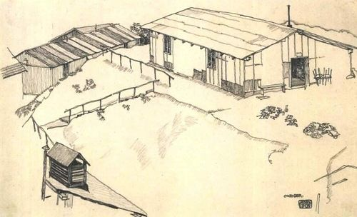 Paying Debt to Nature with a Death as Obscure : Eight drawings of buildings, houses & towns by Egon Schiele