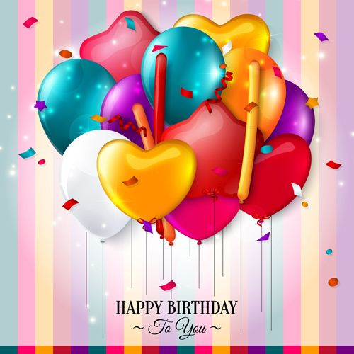 Birthday card with colored balloons vector 01
