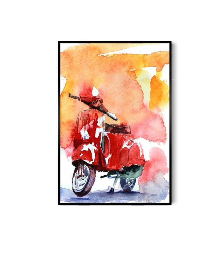 Scooter by AllWaterAndColors on Etsy