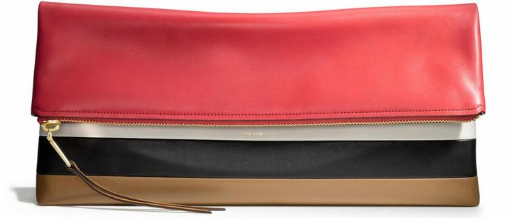 I love the colors on this large Coach Clutch in Bar Striped Leather. #Coach #Clutch