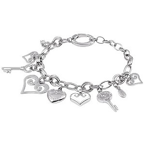 Fossil heart and key charm bracelet