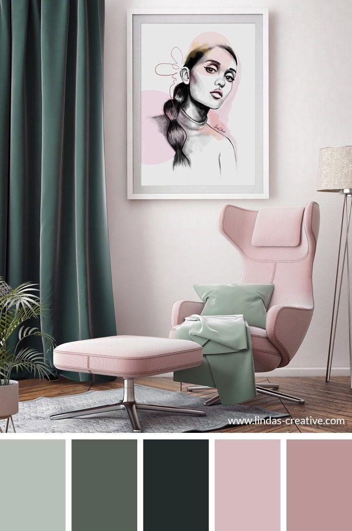 Green Mint And Pink Such A Great Color Combination And Palette Color Palette Living Room Living Room Color Living Room Color Schemes