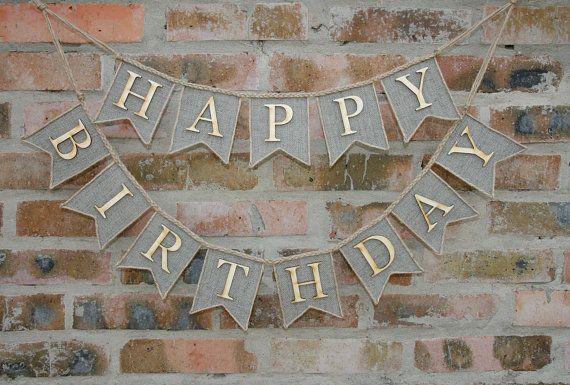 Happy Birthday Banner Happy Birthday Burlap by FriendlyEvents