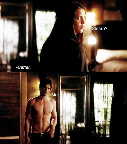 LOL MmmmMmMm. Who could think of Stefan when Damon is in the room? DELICIOUS!