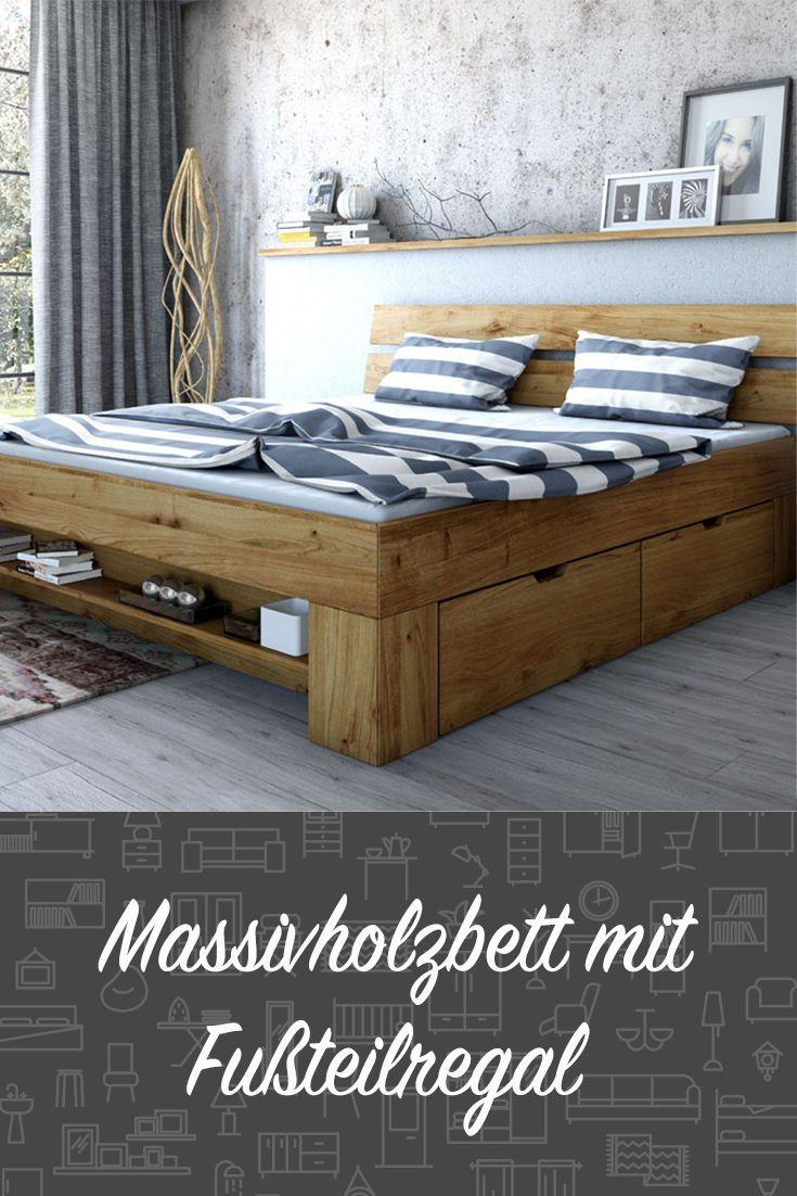 Ein Wahres Stauraumwunder Am Fussteil Dieses Hubschen Massivholzbetts Lassen Sich Bucher Oder Dekoelemente Platzie Bett Massivholz Schlafzimmer Massivholz Bett