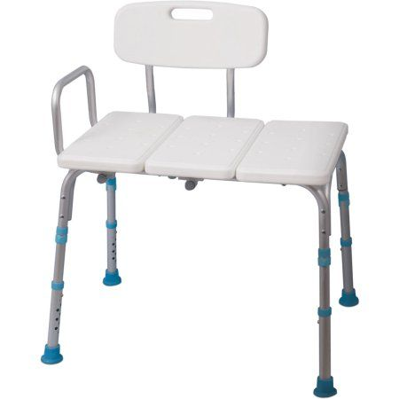 AquaSense Adjustable Bath and Shower Transfer Bench with Reversible Backrest, Off White