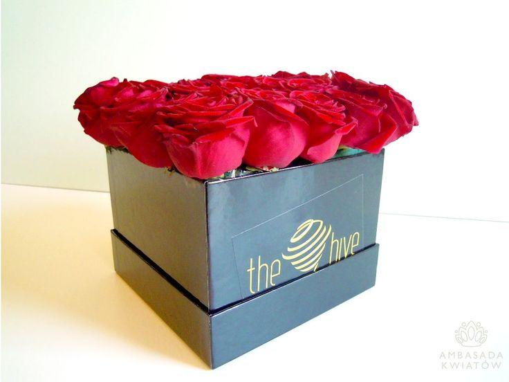 pudełko kwiatów z brandingiem
