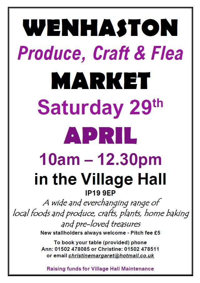 "Date for Your Diary: Saturday 29 April. Craft Market. Wenhaston Village Hall. 10am - 12:30pm. ""Just All Good Things"" will be there selling homemade and natural products :D xxx"