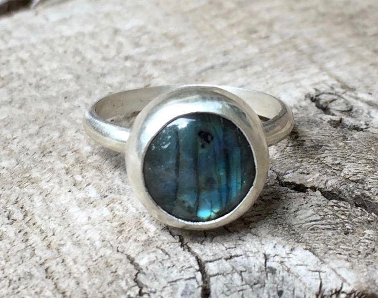 Stunning Round Flashy Blue Labradorite Sterling Silver Ring   Labradorite Ring   Energy Ring   Protection Stone Ring   Engagement Ring by GildedBug on Etsy