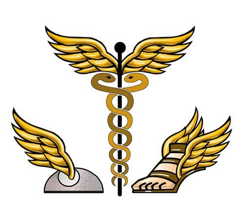 These are the symbols for the Greco / Roman god Hermes ...