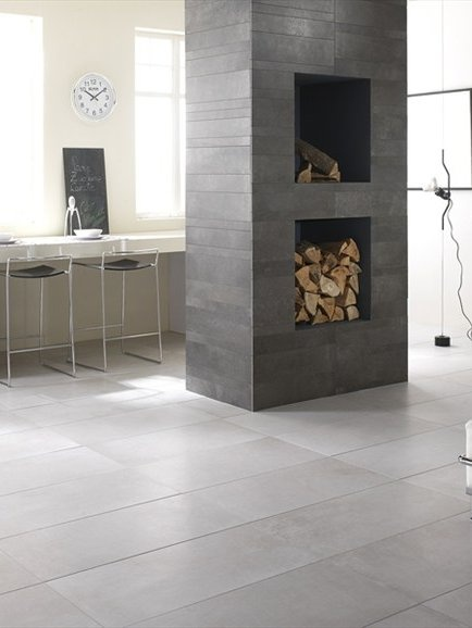 Porcelain stoneware wall/floor tiles with concrete effect URBAN CONCRETE by Flaviker Pi.Sa. #fireplace #interiors