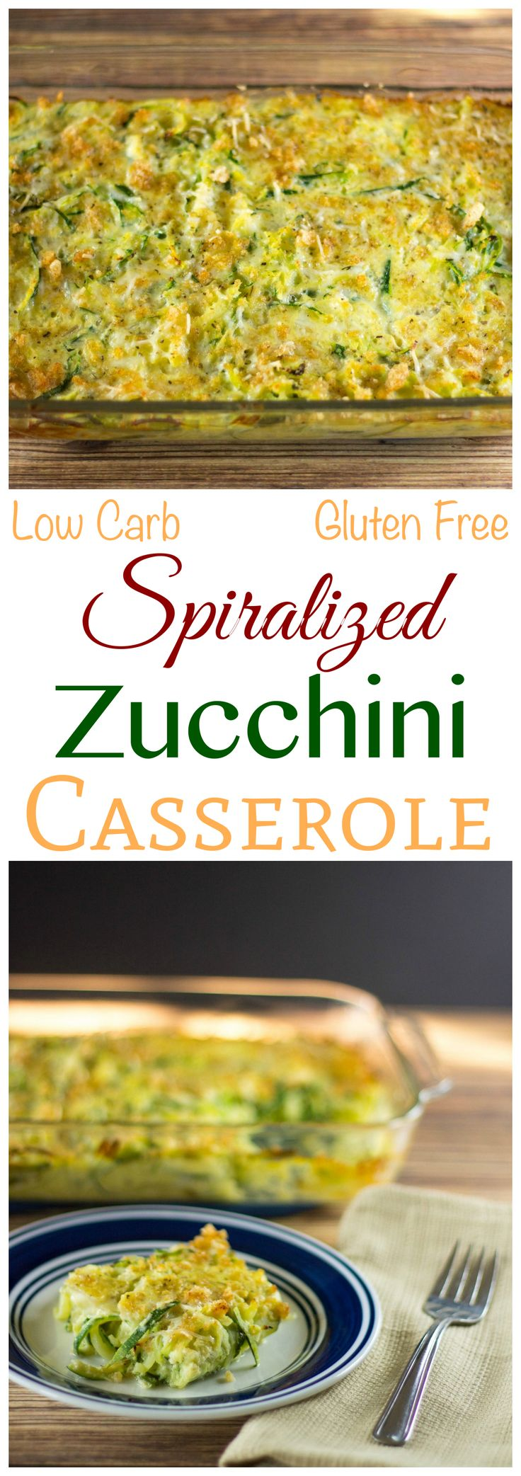 Enjoy this tasty low carb spiralized zucchini casserole as a side dish for a main meal or brunch. It's got an egg base and a crunchy gluten free topping.