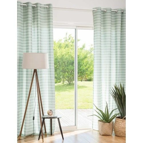 YUCCA - Green Patterned Cotton Eyelet Curtain 140 x 250 cm