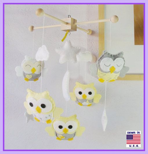 ON SALE Baby Mobile Baby Crib Mobile Owl Nursery par hingmade