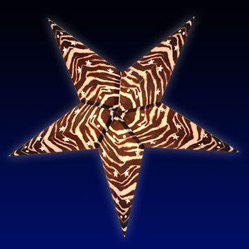 Zebra Lantern String Lights : Handmade Zebra Print 5 Point Paper Star Lantern Star lamp, Paper stars and Kites