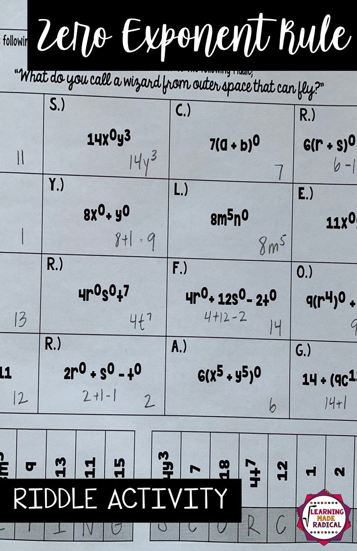 Zero Exponent Rule Riddle Activity Exponent Rules Zero Exponent Rule Exponents