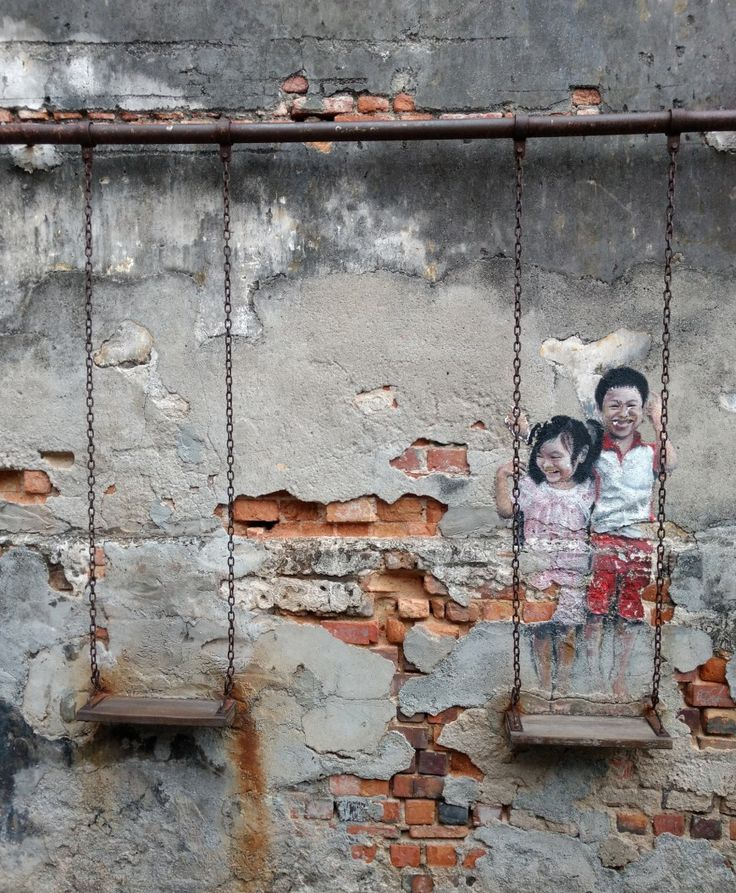 Children on a swing, George Town, Penang