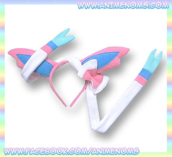Sylveon Ears Headband - Fleece Anime Geek Gift Eevee Pokemon Pink White Cute Kawaii Cosplay Ears Adult Teen Child