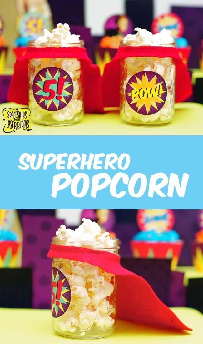 Superhero Popcorn Party Cups Dessert Table Idea - Easy DIY!!! www.spaceshipsandlaserbeams.com