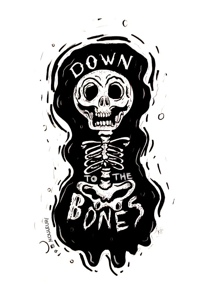 .:: DOWN TO THE BONES ::.  amor por lo que se hace  #love #ilustracion #sharpe #digital #skull #bones #black #white