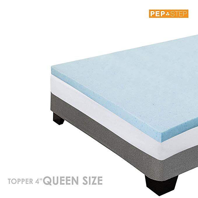 Memory Foam Mattress Topper 4 Inch Thick Cooling Gel Queen Size
