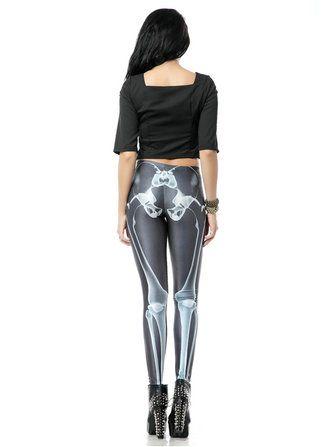Sexy Halloween Women Skull Digital Printing Stretch Skinny Pants at Banggood
