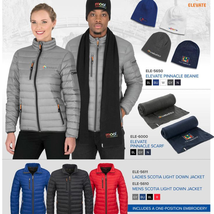 Keep warm when winter strikes with these cold weather essentials from Elevate.  The perfect body insulator, our Elevate Scotia Light Down Jacket is available in 4 fabulous colours and comes with 2 interchangeable puller string colours: - black and grey jackets supplied with black and orange puller strings. - blue and red jackets supplied with black and white pullers.  For added protection from the elements, choose to team it with an Elevate Pinnacle Beanie and Scarf.  When ordering the…