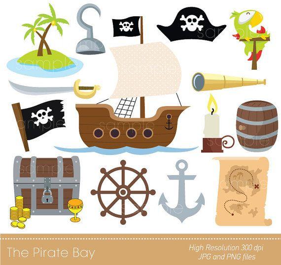 Digitální Klipart - Pirate Bay pro scrapbooking, pozvánky, řemesla papír, karty Making, Okamžité stažení komerční využití pro tisk