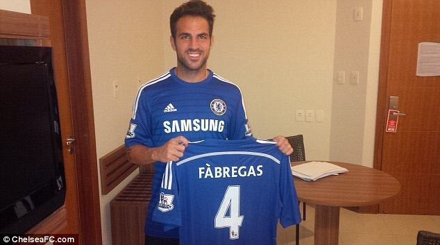 Cesc Fabregas signs for Chelsea on five-year deal #dailymail
