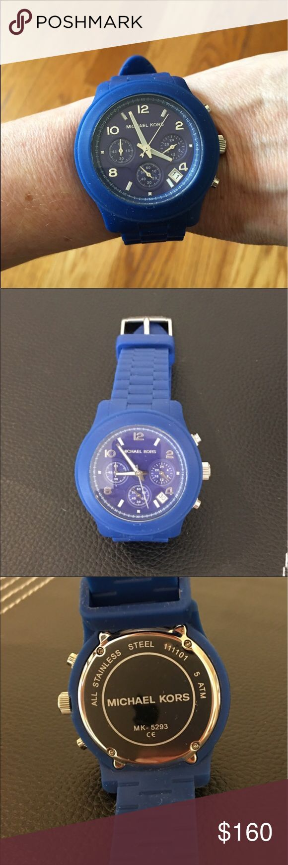 Authentic MICHAEL KORS chronograph watch ⌚️ Authentic MICHAEL KORS chronograph watch. Features royal blue silicon rubber band, blue face, and is water resistant watch.   Discontinued model, MK5293.  Working watch but may need a new battery. In lovely gently worn preowned condition. Please ask questions prior to purchase. 🚫Trades.  Reasonable offers only considered. Accessories Jewelry