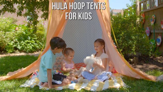 Use hula hoops to make secret hideaway enjoyed by adults and kids alike.