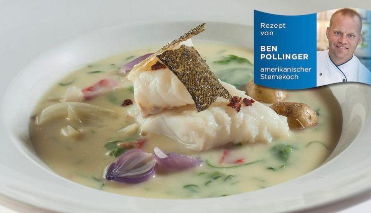 Suppe vom Skrei mit gerösteten Paprika und Fenchel