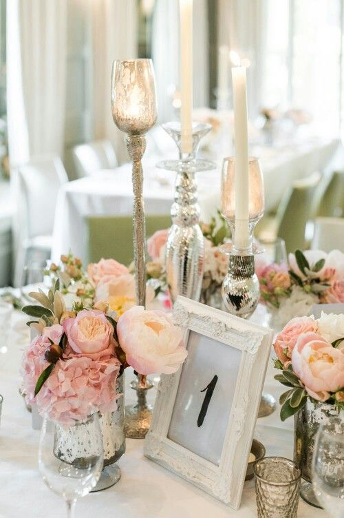 Table centre ideas- blush peonies with crackle votive tea light holders and candlesticks