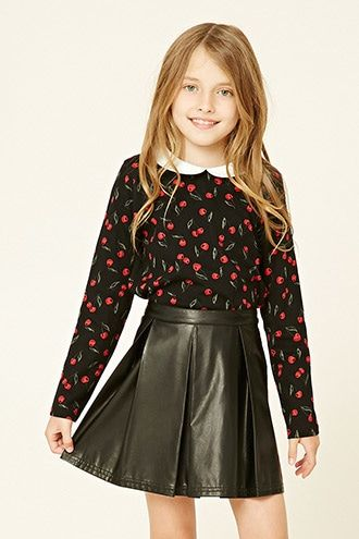 Forever 21 Girls - A knit top featuring an allover cherry print, a peter pan collar, long sleeves, and an exposed back zipper.