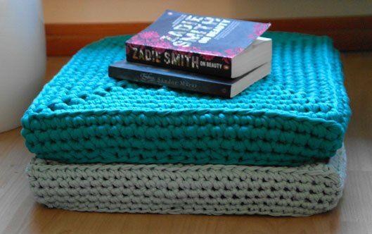 Square crochet floor cushions