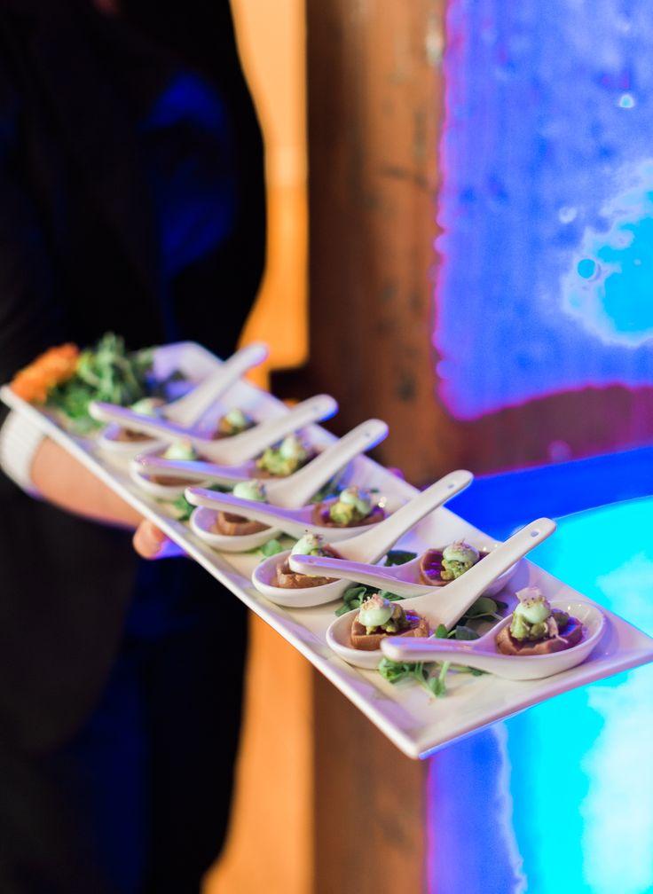 Seared Ahi Tuna with Asian pear & avocado salsa, black sesame seeds, wasabi aioli, crispy taro root. #catering #foodies