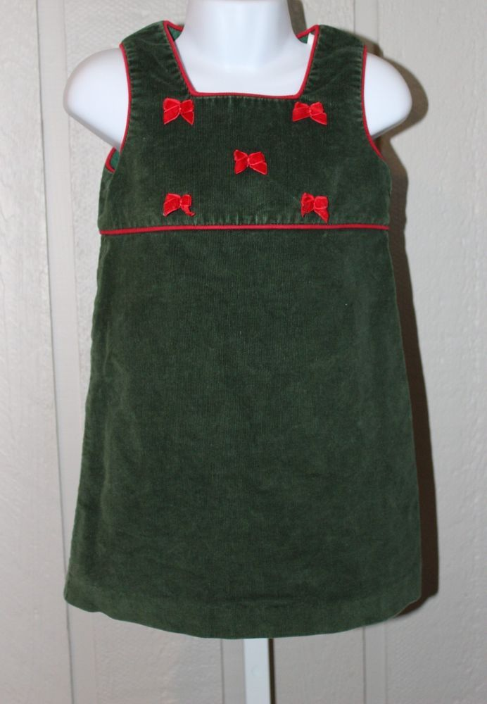 HEARTSTRINGS 4 T Green Corduroy Red Bow Sleeveless CHRISTMAS Jumper Dress #Heartstrings #CasualParty