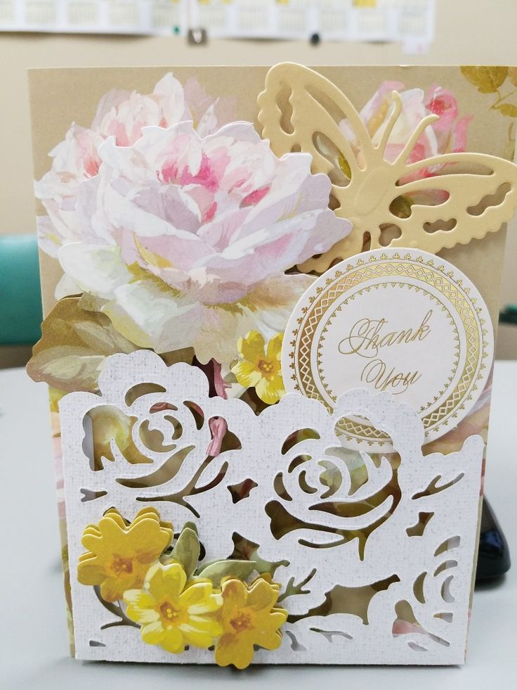 Card made with Anna Griffin pocket dies