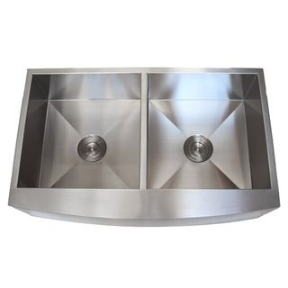 @Overstock - Stainless Steel Farmhouse Double Bowl Curve Apron Kitchen Sink - Apron front sinks are often referred to as farmhouse sinks because they can evoke period-style kitchens. This double bowl sink has a stylish curved panel in front and a beautiful stainless steel finish that complements many kitchen decor styles.    http://www.overstock.com/Home-Garden/Stainless-Steel-Farmhouse-Double-Bowl-Curve-Apron-Kitchen-Sink/8095884/product.html?CID=214117  $529.99