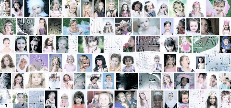 """ASSIGNMENT REDUX: What is each of these princesses thinking and feeling? Look closer. What of the """"ghostly"""" princesses bursting the frames of their boxes? (Process: Screen snapshot of Google image search, retouched, faded to pastel.) This needs work, refinement, another level. But what?"""