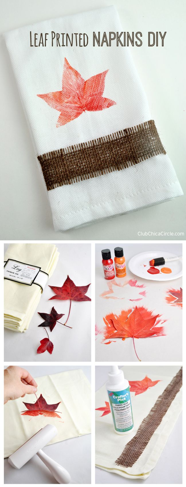 Leaf Printed Napkins DIY and Craft Idea - print real leaves onto cloth with soft fabric paint. So pretty!