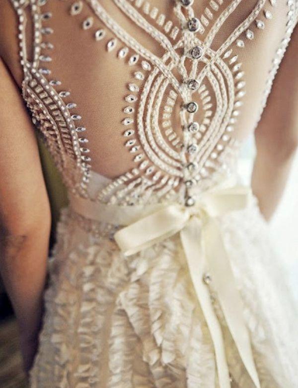 vintage sequins wedding dresses with beautiful back details