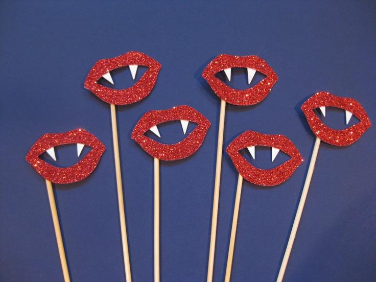 Halloween Photo Booth Props - GLITTER Vampire Lips on sticks