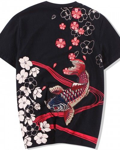 ef2047b96 Embroidered Koi fish t shirt mens chichinese style carp Cherry blossom tee  shirts
