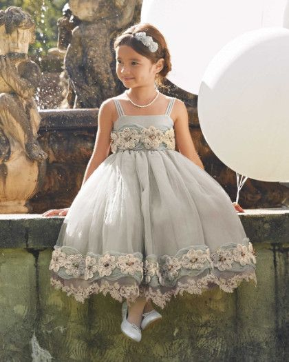 girls heirloom rosette dress - From satin rosettes to a dainty lace-trimmed hem, gorgeous details enhance this dress' subtle beauty. With three distinct layers of gauzy, shimmering organza and tulle, it's sure to delight and enchant. The heirloom-quality style is perfect for most any special occasion.