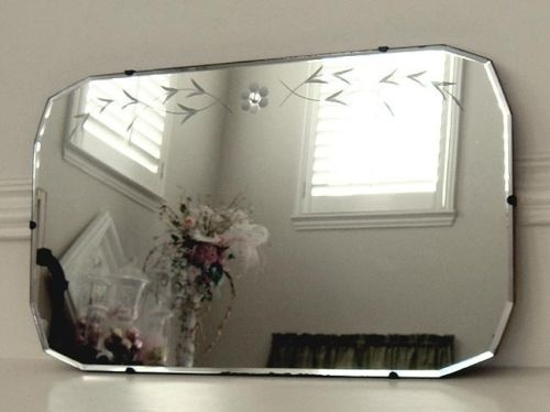 Vintage Art Deco Etched Floral Beveled Glass Mirror Art