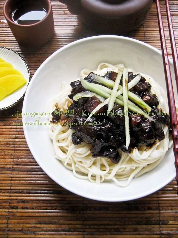 Jjajangmyeon:   has reached cult status in Korea and is hailed as one of the country's national dishes, it is probably the most popular delivery noodle dish and is definitely one of the most delicious Korean noodle dishes in my opinion.